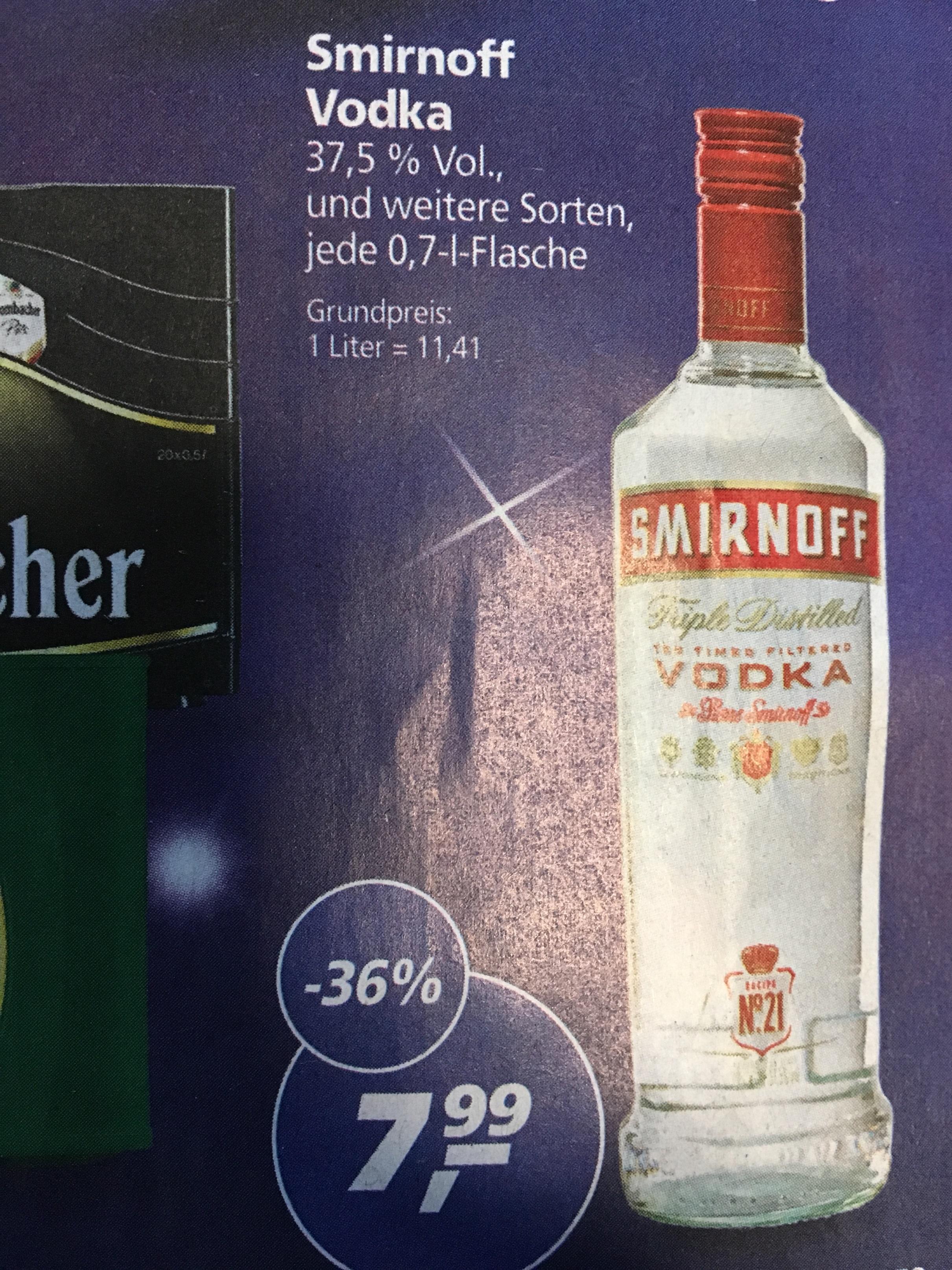 [Real] Smirnoff Vodka 0,7 Liter in versch. Sorten für € 7,99