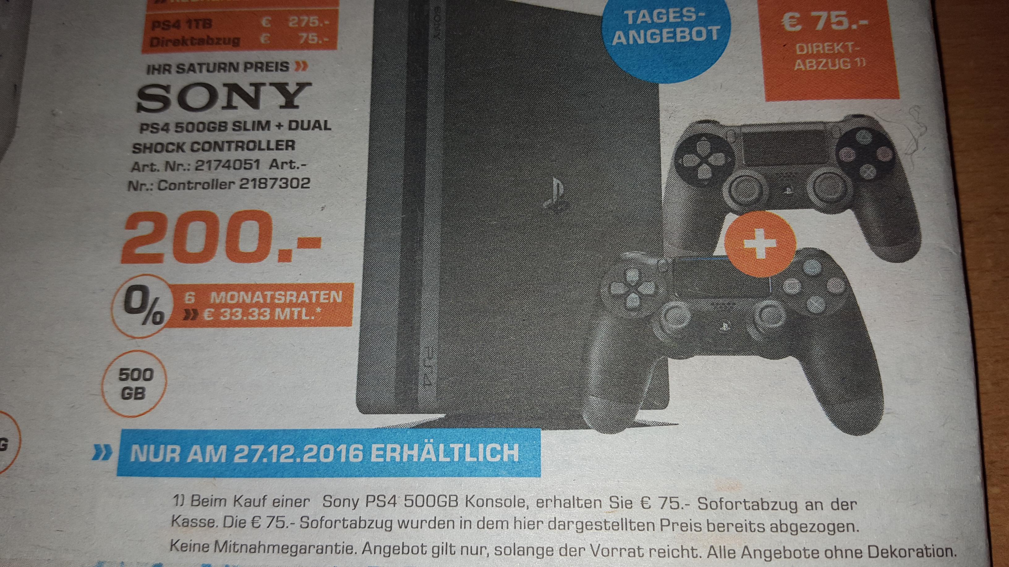 PS4 Tages Angebot Nur am 27.12.2016 Lokal Herford Saturn