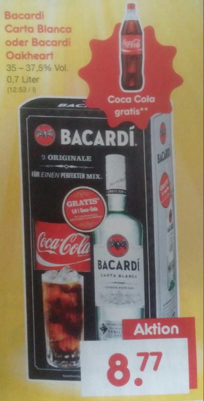 [Netto Marken-Discount] Bacardi Carta Blanca oder Oakheart (0,7 L) + 1 L Coca Cola