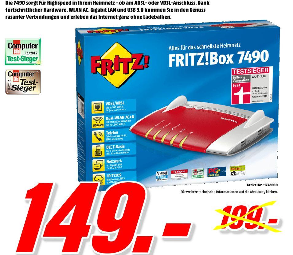 [Mediamarkt Porta Westfalica/Bundesweite Kostenlose Lieferung] AVM FRITZ!Box 7490 WLAN AC + N Router (VDSL/ADSL, 1.300 Mbit/s (5 GHz), 450 Mbit/s (2,4 GHz), DECT-Basis, Media Server) für 149,-€**Zahlung mit Geschenkkarten**