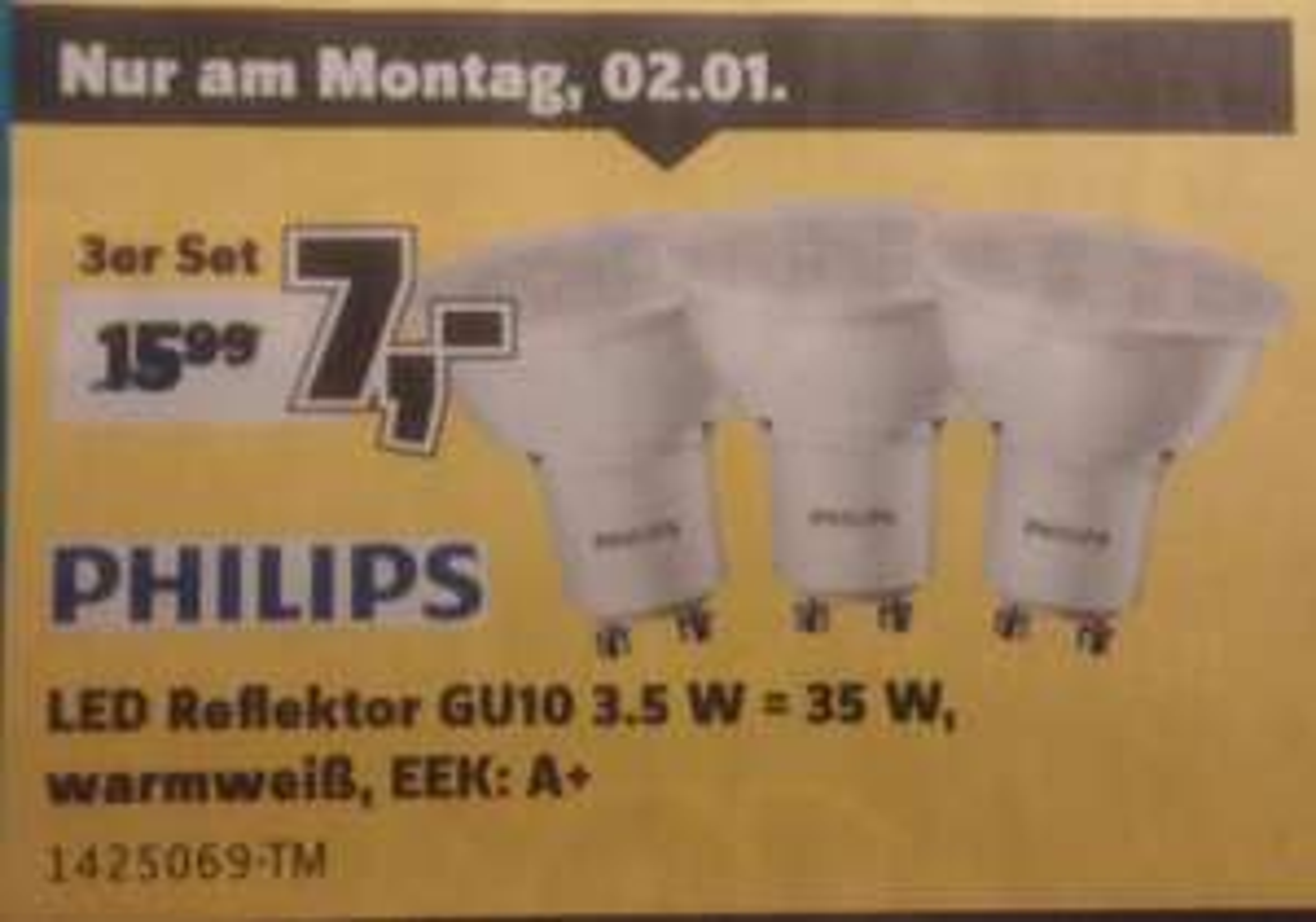 [Conrad bundesweit] 3er Pack Philips LED Reflektor GU10 3.5 W = 35 W, warmweiß, EEK: A+