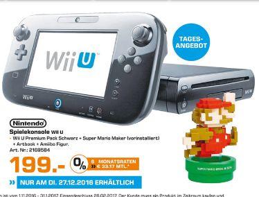 [Lokal Saturnmarkt Euskirchen NUR am 27.12] Nintendo Wii U Premium Pack schwarz, 32GB inkl. Super Mario Maker + Artbook + Amiibo für 199,-€