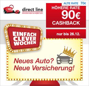 90 € Cashback für den Abschluss einer KFZ-Versicherung als Neukunde bei Direct Line über Shoop