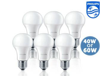 [iBood] 6x Philips LED-Glühbirnen E27, 40W oder 60W