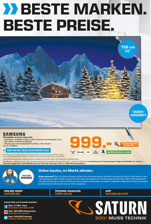 Saturn Euskirchen [Lokal] Samsung UE55KS7090 am 29.12.16 für 999 Euro 4K