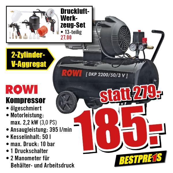 b1 baumarkt rowi doppelzylinder kompressor dkp 2200 50 3 v idealo 299 99. Black Bedroom Furniture Sets. Home Design Ideas