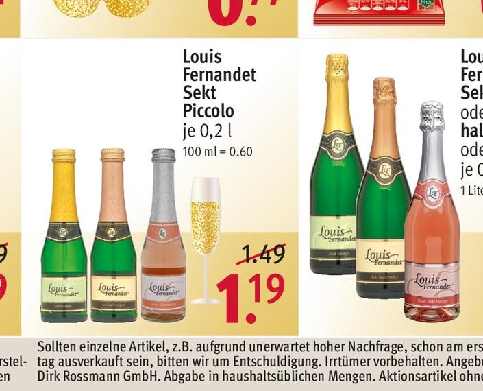 (Rossmann) Louis Fernandet Sekt Piccolo (mit Scondoo) = 0,69 €