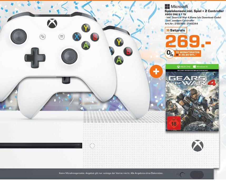 [Lokal Saturn Bremen] Microsoft Xbox One S / 1TB + Gears of War 4 + 2.Controller für 269,-€