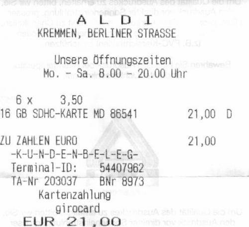 Aldi Nord Medion 16 GB SDHC  Card CLASS 10   3,50 €