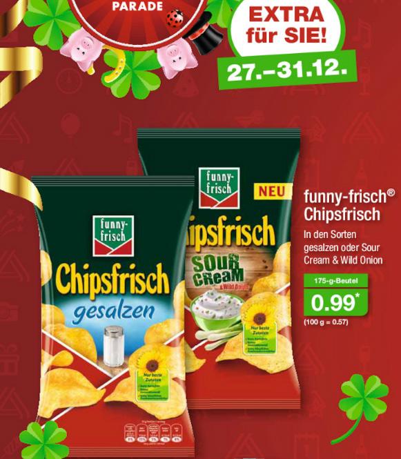 [ALDI Nord] funny-frisch Chipsfrisch 175g (Sour Cream & Wild Onion bzw. gesalzen)