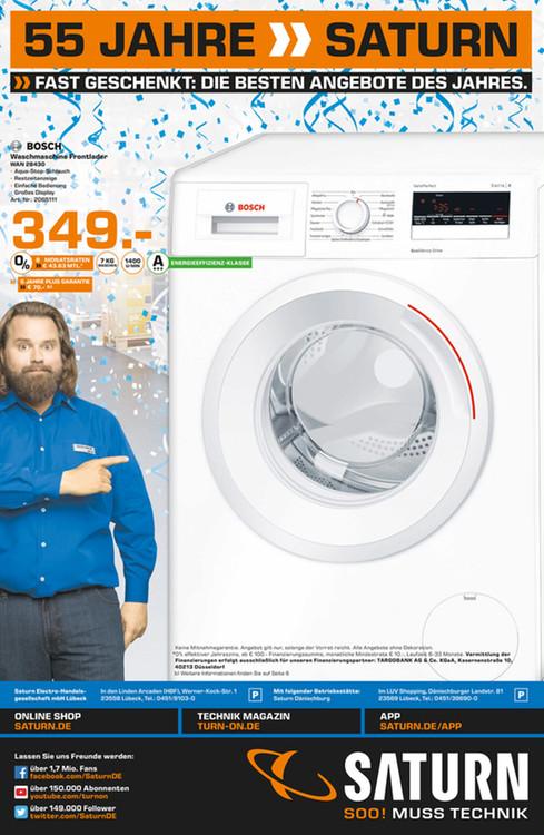 [Lokal Saturn Lübeck] Bosch WAN28430 Waschmaschine A+++ 7KG