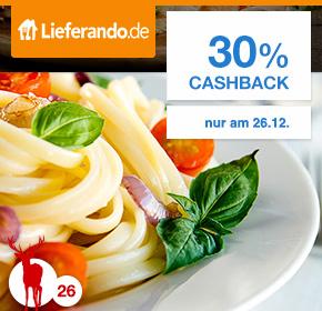 30 % Cashback auf jede Bestellung bei Lieferando über Shoop