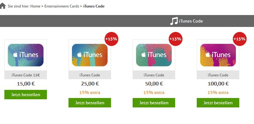 iTunes Guthaben kaufen und 15% extra erhalten!