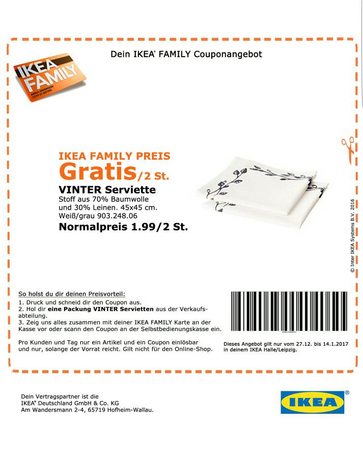 REGIONAL IKEA Halle/Leipzig 2 gratis STOFFSERVIETTEN