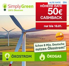 SimplyGreen Ökostrom o. Ökogas + 50€ Shoop Cashback + Sachprämie/Gutschein