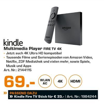 [Lokal Saturn Hamburg/Norderstedt] Amazon Fire TV Box 4K Ultra HD 8GB Speicherplatz 2GB Arbeitsspeicher (Schwarz) für 69,-€