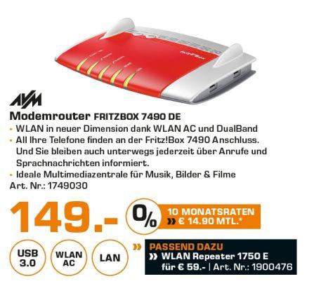 [Lokal Saturn Hamburg/Norderstedt] AVM FRITZBox 7490, Breitbandrouter mit bis zu 450 Mbit/s und IPv6 Unterstützung für 149,-€**AVM FRITZ!?WLAN Repeater 1750E für 59,-€