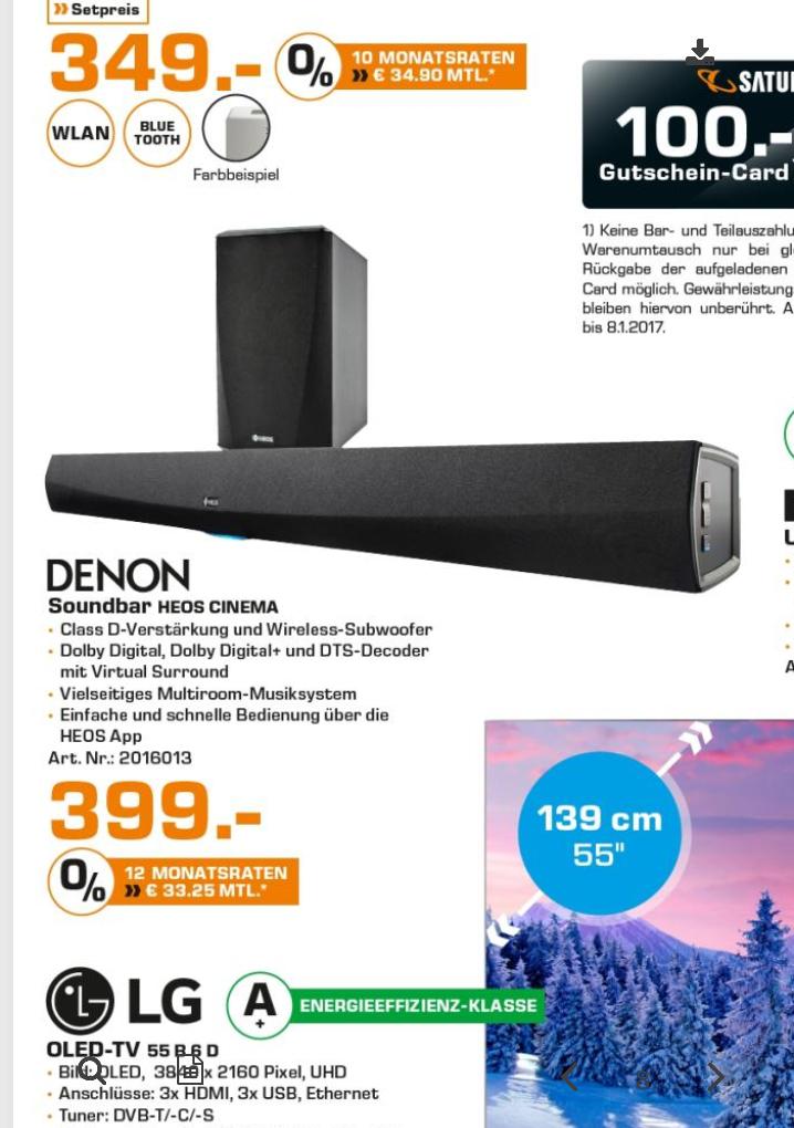 [Lokal Saturn Hamburg/Norderstedt] Denon Heos Homecinema Soundbar für 399 Euro statt Online 599 Euro