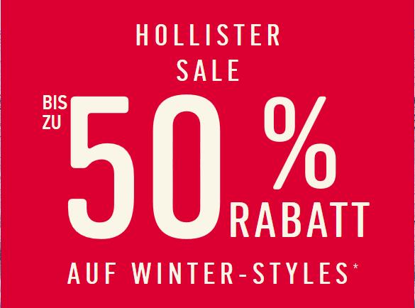 Bei Hollister: Bis zu 50% Rabatt auf Winter-Styles