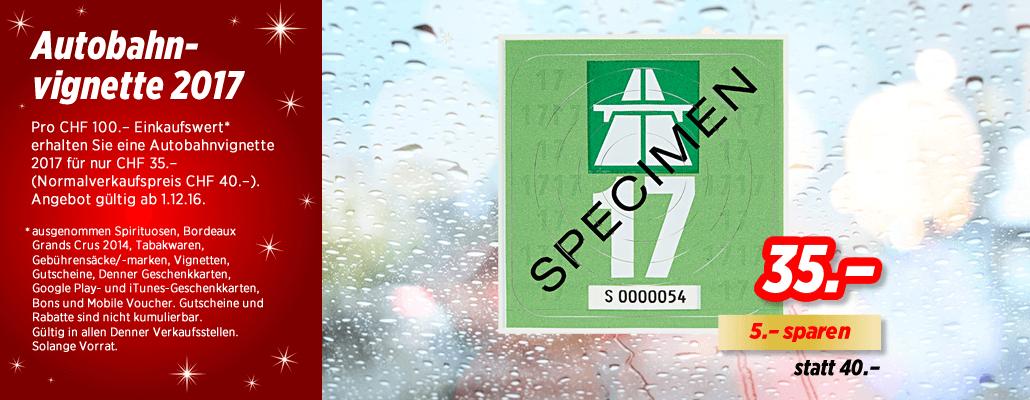 (Schweiz) Autobahnvignette 2017 für 35chf beim Einkauf ab 100chf