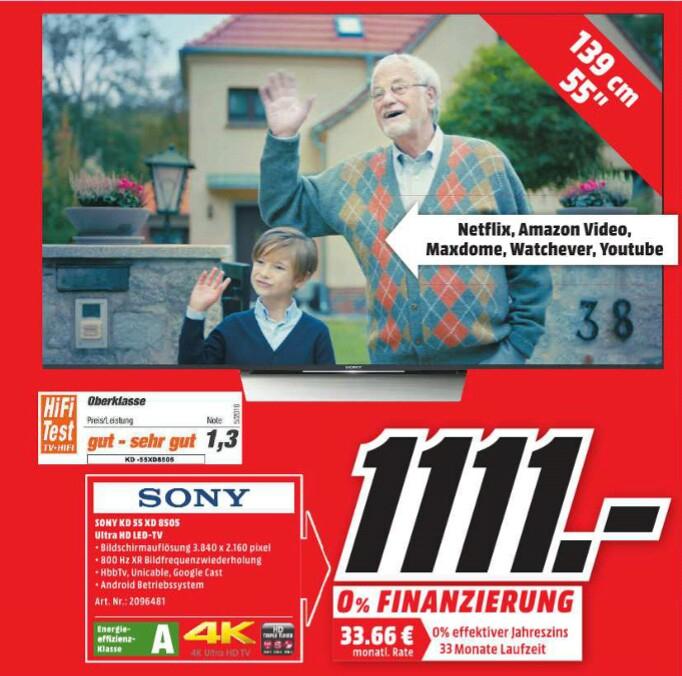 [MM Bad Kreuznach] Sony KD 55XD8505 4K HDR Android LED TV