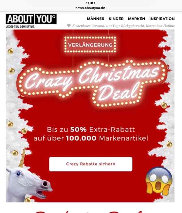 ABOUT YOU: Crazy Christmas Sale 50% geht in die nächste Runde bis 31.12