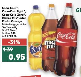 [Kaufland bundesweit] 2 L Coca Cola [0,48 €/L] (auch light u. Zero), Mezzo Mix o. Fanta Orange