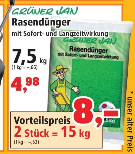 Langzeit-Rasendünger 15kg für 8,- Euro bei Thomas Philipps
