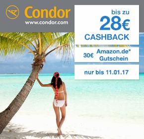 Condor: bis zu 28€ Cashback + 30€ Amazon.de Gutschein auf jede Flugbuchung (ab 99€)!