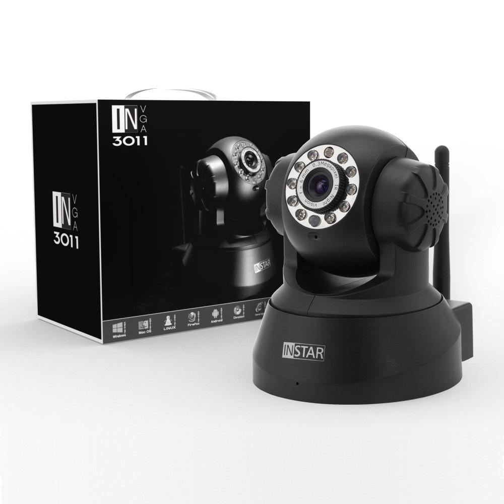 INSTAR WLAN IP Netzwerkkamera IN-3011 für Innenbereich, Pan & Tilt  (10 LED Infrarot Nachtsicht, Mikrofon und Lautsprecher integriert) Schwarz & Weiß [Season-Specials]