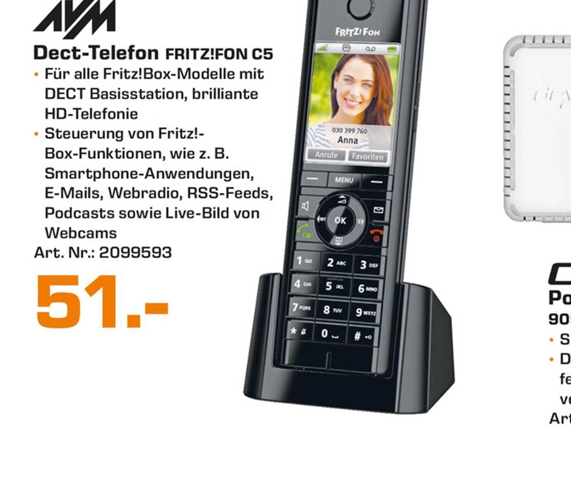 Lokal Saturn Hamm AVM FRITZ!Fon C5 Schnurloses dect-Telefon