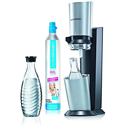 SodaStream Wassersprudler Crystal (mit 1 x CO2-Zylinder 60L und 2 x 0,6L Glaskaraffen) Titan/Silber für 99€