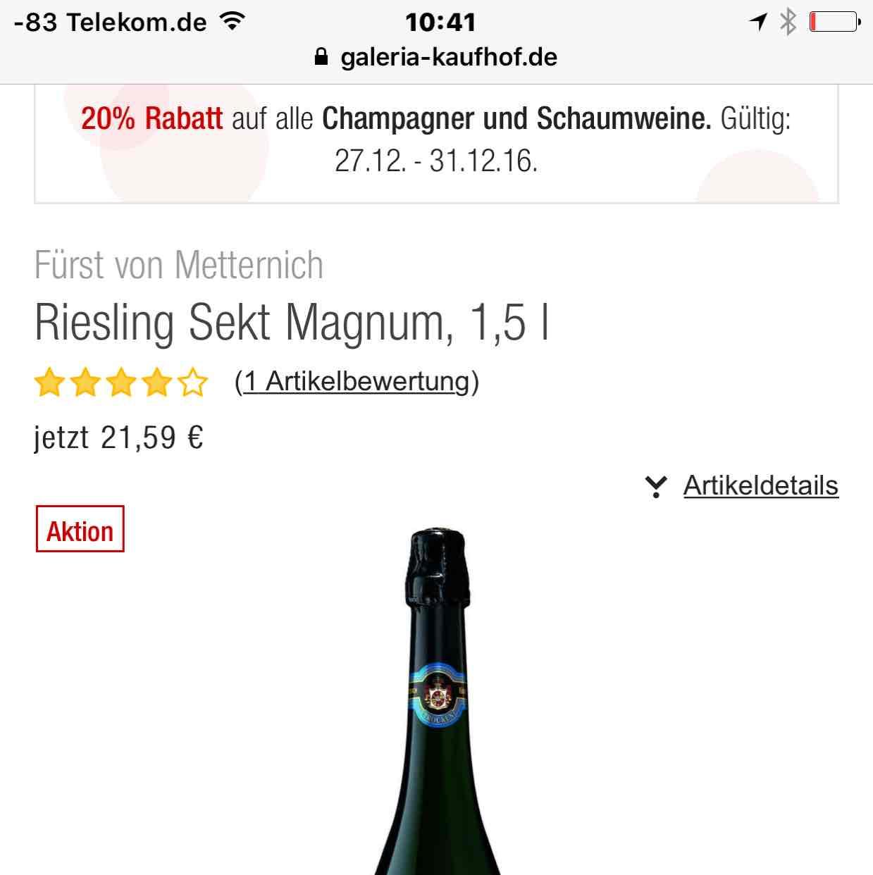 Galeria Kaufhof: 20% auf Champagner und Schaumweine