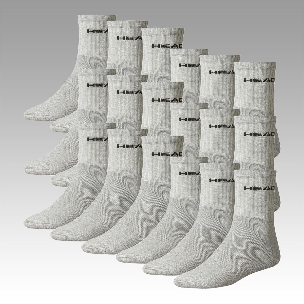 18 Paar Socken für 18 Flocken - Head Sport (Short) Crew, Sneaker oder Quarter in schwarz, weiß oder grau