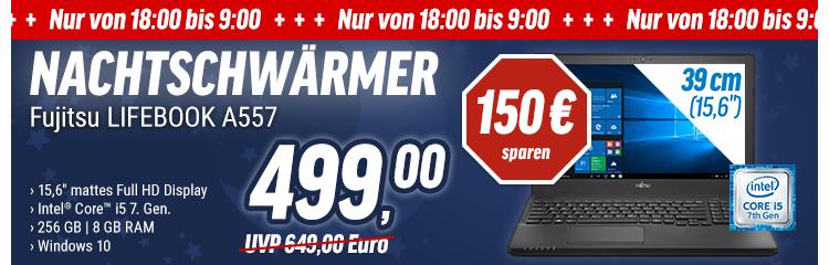 "[NBB] Fujitsu LIFEBOOK A557 15,6"" Full-HD, Intel Core i5-7200U, 8GB RAM, 256GB SSD, Win 10  !!!! AB 18:00 UHR NBB Nachtschwärmer !!!!"