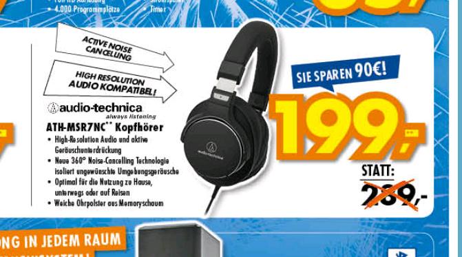 [LOKAL Euronics Neu-Ulm] Audio-Technica ATH-MSR7NC /  Kopfhörer mit Noise Cancelling