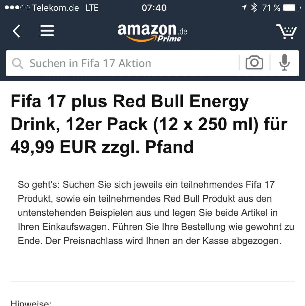 FIFA 17 XBOX ONE / PC / PS4 + 12 RedBull bei Amazon für 49,99€ zzgl. Pfand