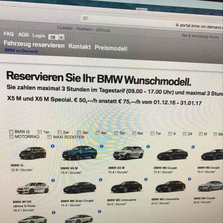 BMW on Demand  X6M und X5M für 50€/h statt 75€/h in München
