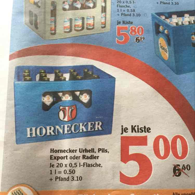 Hornecker Bier (20x 0,5 Liter) verschiedene Sorten - Globus Schwandorf (wahrscheinlich auch bundesweit) 02.01-07.01.17