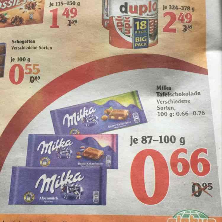 MILKA Tafelschokolade verschiedene Sorten (87-100g) - Globus Schwandorf (wahrs bundesweit) vom 02.01-07.01.17