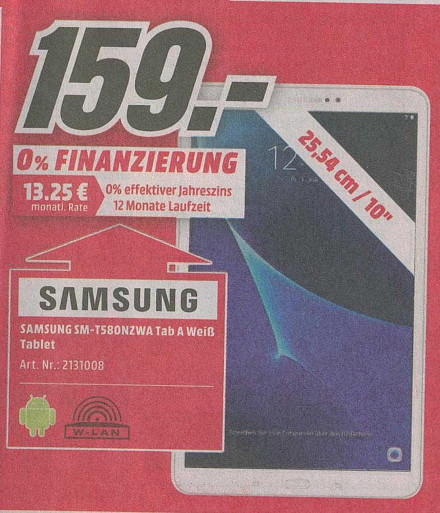 [Lokal Neuss] Samsung SM-T580NZWA Tab A Weiß