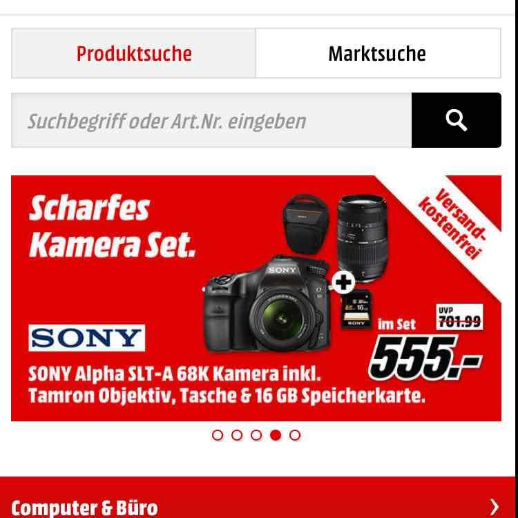 [Mediamarkt online] Sony Alpha SLT-A 68 K Kamera inklusive 18-55 mm und 70-300 mm Objektiv, Tasche und SD-Karte, VSK-Frei