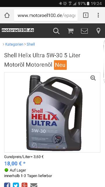 Motoröl z.B. Shell Helix Ultra 5W30 (5L) für nur 18,- € (zzgl. 5,95€ Versand)