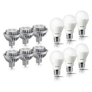 6er Pack Philips LED-Lampe GU5.3/E27 8W/9,5W ersetzt 50W/60W 2.700 K Warmweiß A+ für 19,99€ inkl. Versand