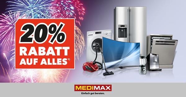 20% Rabatt bei MEDIMAX auf Alles* am 02.01.2017 + 03.01.2017
