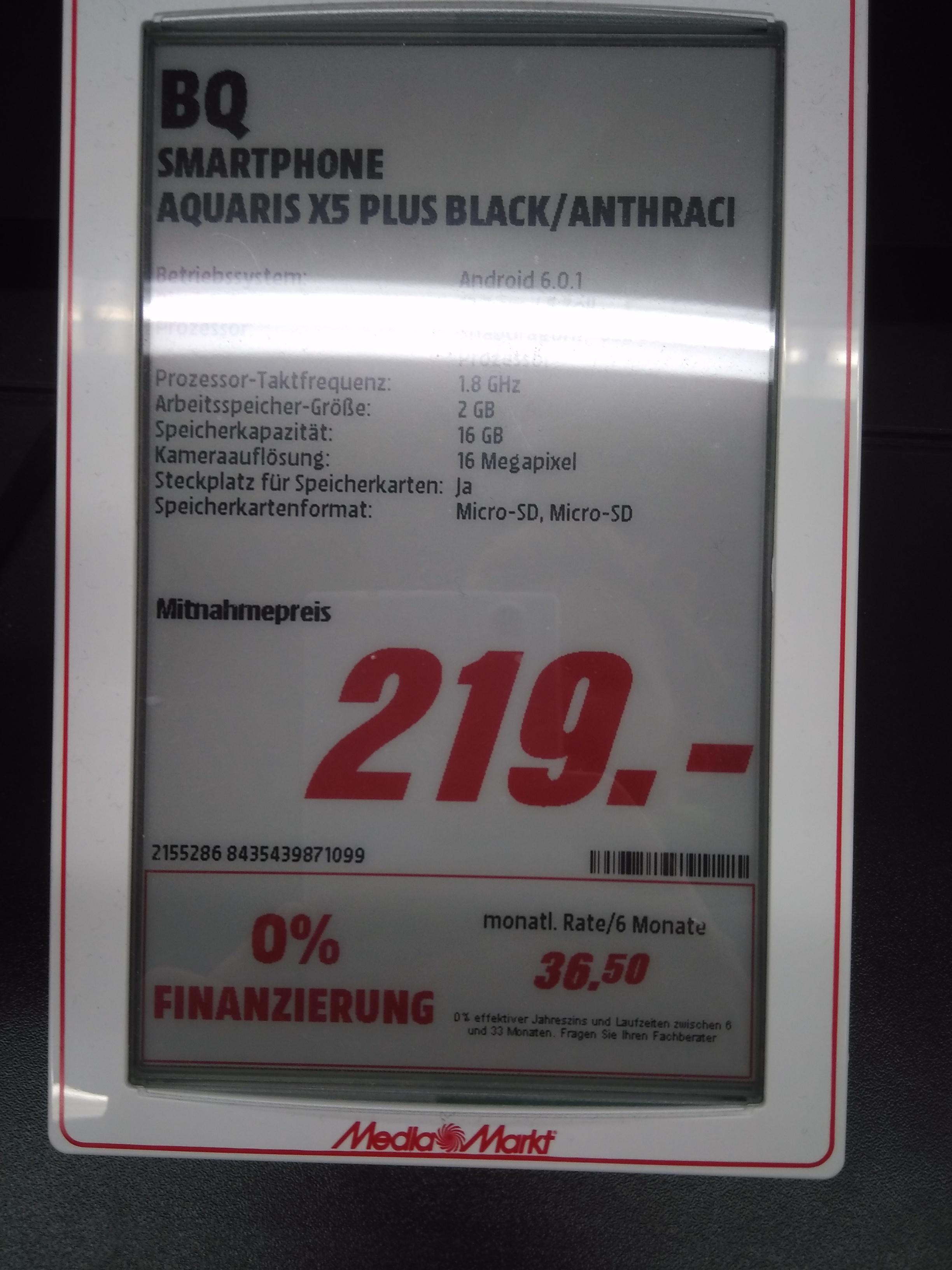 [Lokal Media Markt Paderborn] BQ Aquaris X5 Plus (2GB/16GB)