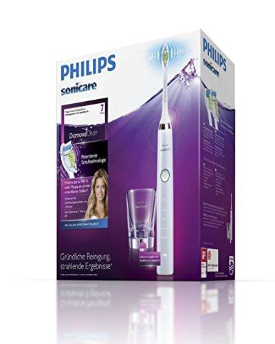 Philips Sonicare HX9332/34 DiamondClean Elektrische Zahnbürste mit Schalltechnologie, weiß mit prime (Induktionslade-Glas-Variante) (Blitzangebot)