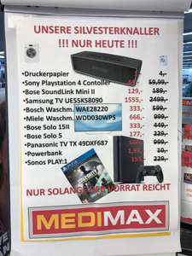 SAMMELDEAL LOKAL MEDIMAX BERLIN WILMERSDORFER ARCADEN PS4 DUALSHOCK CONTROLLER 44€ - Kopierpapier 1€ - Powerbank 2500mah 1,99€