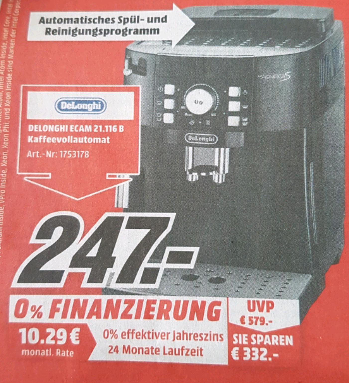 Kaffeevollautomat Delonghi Ecam 21.116b bei Mediamarkt [Offline/Lokal!]