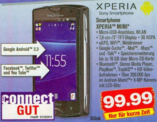 [Lokal] Sony Ericsson Xperia Mini (Android 4.0-Update möglich) für 100 € ab Mi. 06.06. bei Penny (nächster Preis: 127 € inkl. VSK)